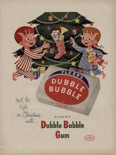 Vintage Christmas Ad ~ Dubble Bubble Gum ~ 1953