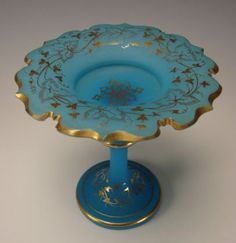 19c Bohemian Blue Opaline Gilt Glass Compote Stand Van Dyke Rim