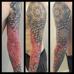 Red-And-Black-Ink-Escher-Mandala-Tattoo-On-Left-Full-Sleeve.jpg (640×640)