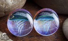 Pyrex glass jellyfish plugs (Blue moon on amber purple)
