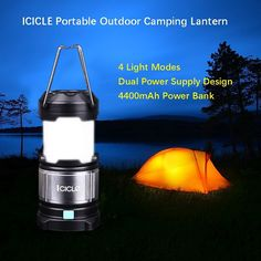 """Camping Packing :""""Led Camping Lanterns Flashlights with 4400 mAh USB Power Bank : 4 Light Modes - White : Red-  ICICLE Outdoor Portable Tent Lights for Hiking : Reading : Awning : Hurricanes : Outages - Black"""" *** Startling review available here"""