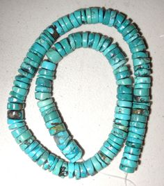 Turquoise Rough Cut Heishi Beads. Real Chinese Turquoise, Side Drilled Turquoise Heishi Beads. This is very good grade Turquoise, stabilized but no color added.   eBay!