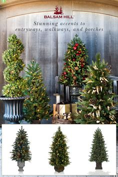 Add festive sparkle to your home with Balsam Hill's Topiary Trees. With outdoor-rated lights, our potted trees can safely brighten up both indoor & outdoor spaces. Save up to 50% & get free shipping in our Christmas in July Sale. #ChristmasinJuly