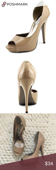 """Steve Madden Emile nude pumps 7 he Steve Madden Emele Dress Shoes feature a Synthetic upper with a Open-Toe . The Man-Made outsole lends lasting traction and wear. Size 7. Worn once. Excellent preowned condition  EMELE-NDE Brand Color: Nude (Main Color: Beige) Material: Synthetic Measurements: 5.25"""" heel Width: B(M) Steve Madden Shoes Heels"""