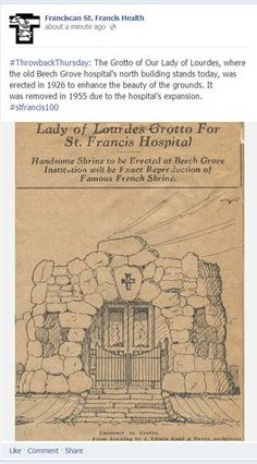 #ThrowbackThursday: The Grotto of Our Lady of Lourdes, where the old Beech Grove hospital's north building stands today, was erected in 1926 to enhance the beauty of the grounds. It was removed in 1955 due to the hospital's expansion. #stfrancis100