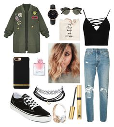 Untitled #13 by adekoooo on Polyvore featuring polyvore fashion style Boohoo WithChic Levi's Vans Prada CLUSE Ray-Ban Estée Lauder Lancôme clothing