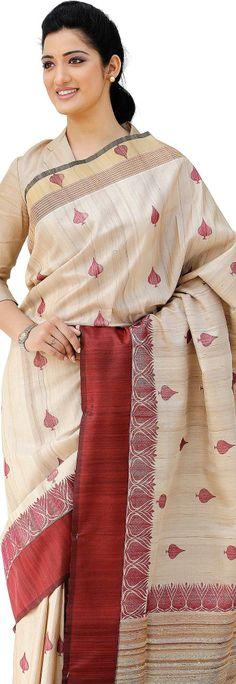 Handloom Tussar #Silk Saree @http://www.maalpani.com/latest-arrivals.html