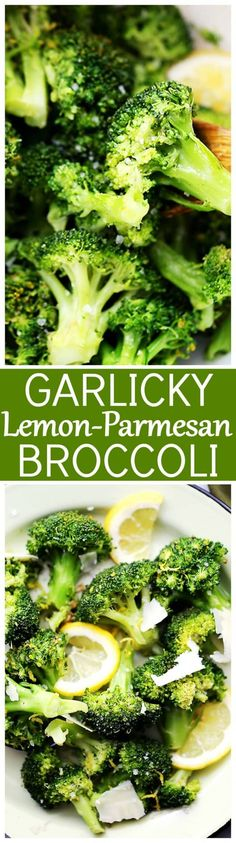Garlicky Lemon-Parmesan Broccoli - A quick, healthy, delicious, and EASY side dish with steamed broccoli tossed in olive oil with garlic, lemon juice and fresh parmesan!