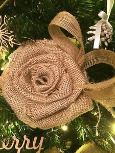 Rustic Shabby Christmas Tree Decoration Large Burlap Rag Rose & Burlap Bow 6"
