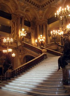 "The Opera Garnier staircase in Paris. The opera house is the setting for the 1910 novel ""The Phantom of the Opera."" #MostBeautifulArchitecture #Paris"