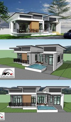 One Storey Concept Home with 3 Bedrooms - Ulric Home Modern Bungalow House Design, Modern Bungalow Exterior, Modern Small House Design, Modern Minimalist House, Simple House Design, Dream House Exterior, Modern Contemporary House, Modern Roof Design, Small Modern Home