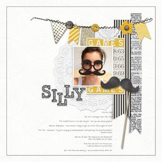 love this simply silly #moustache #scrapbook page from Sharon at DesignerDigitals.com