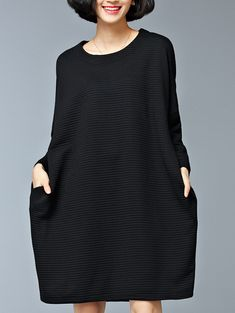 Black Pocket Oversized Thicken Dress 21.97