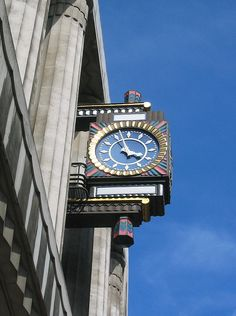 Stunning art deco clock on the side of the old Daily Telegraph building on Fleet Street.