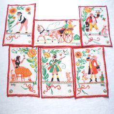 6 Vintage Tony Sarg Cocktail Napkins or Coasters by LinensandThings on Etsy, $40.00