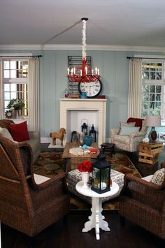 Red Painted Chandelier, Beach Themed Living Room Design