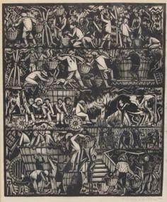 "Harry Bertoia (American, 1915-1978) ""Grape Harvest"", 1941   Woodcut on rice paper"