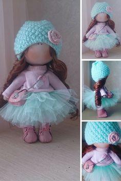 Tilda doll Handmade doll Fabric doll aqua brown color Soft doll Cloth doll Baby doll Rag doll Interior doll by Master Elvira Faizullina