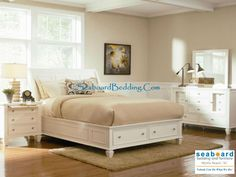 The Sandy Beach collection will infuse your master bedroom decor with clean lines and a classic style. The collection includes a variety of bedroom pieces, with different bed options and plentiful storage to meet your needs. Fully extending drawers are convenient, with durable dovetail construction to last a lifetime. With simple styles and classic molding, you can create a timeless look in your bedroom. Available in Cappuccino, White, and Black finishes http://www.seaboardbedding.com/
