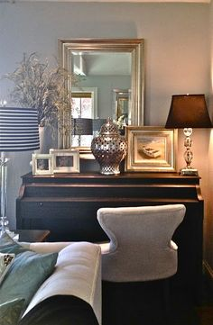 Wow...a piano that looks good in the decor scheme. South Shore Decorating Blog: A Free Piano (Made Over of Course)