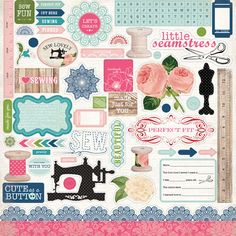 Carta Bella Paper - Sew Lovely Collection - 12 x 12 Cardstock Stickers - Elements at Scrapbook.com