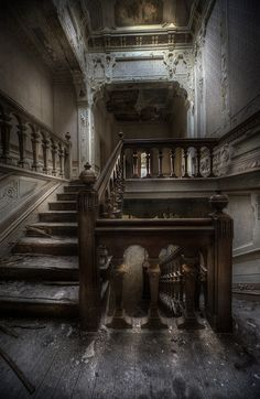 i love to see old abandoned buildings such as this. just imagine the events that could have occurred among these stairs. Abandoned Buildings, Abandoned Property, Abandoned Castles, Old Buildings, Abandoned Places, Abandoned Mansion For Sale, Abandoned Library, Spooky Places, Haunted Places