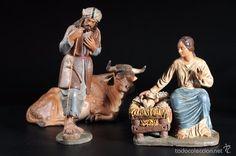 Figuras de Belén: Excelente BELEN o PESEBRE. Figuras de terracota. Nacimiento Firmada DANIEL - Foto 2 - 57089487