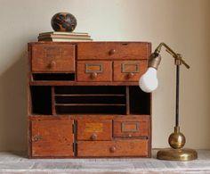 Vintage Library Card Catalog Desktop Cabinet by bonnbonn