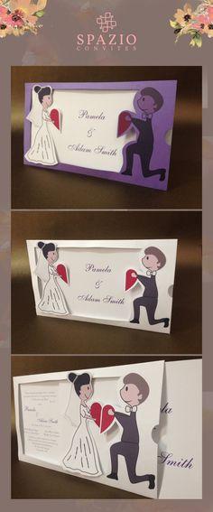 Convite de casamento encontro, onde dois noivinhos se encontram aos convidados puxarem #loveconvites #casamento #diferente #moderno #economico #love
