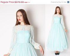 Vintage 50s Blue Wedding Dress / Long 50s Wedding by aiseirigh, $204.00