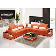 Grand Canapé d'angle en cuir pleine fleur JAZZ