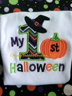 My 1st Halloween Onesie...change to read My 1st Birthday with same colors and appliques