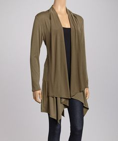 Military Green Tie-Front Cardigan
