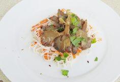 Csípős laskagomba üvegtésztával Tortellini, Ravioli, Asparagus, Chili, Paleo, Beef, Vegetables, Food, Drinks