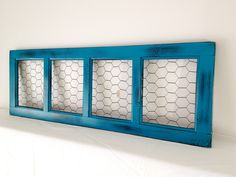 Distressed Dark Teal Turquoise Chicken Wire Frame, Photo Board, Hair Clip Hair Bow Holder, Memo Board, Jewelry Board. $30.00, via Etsy.