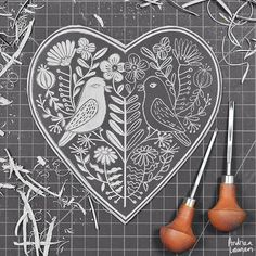 Carving some lino love birds