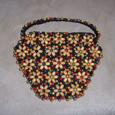 1930's Czechoslovakia Colorful Wood Beads Handbag, Flower Design from timemachinecollectibles on Ruby Lane