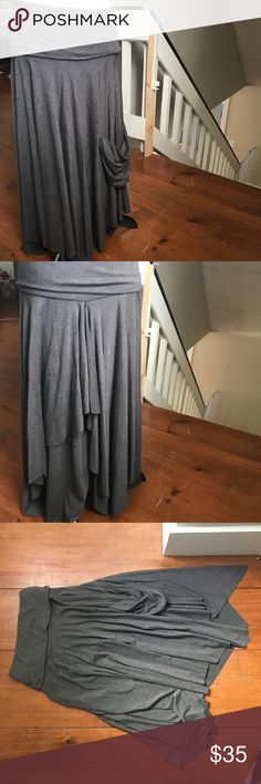 Anthropologie Maxi Skirt Anthropologie multi level flowing dark gray maxi skirt in jersey knit super soft stretchy material. EUC Anthropologie Skirts Maxi