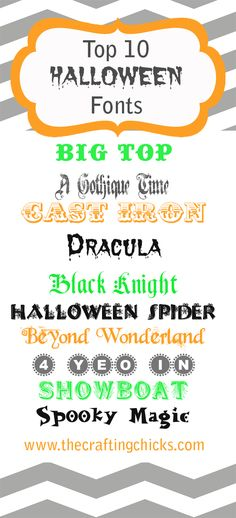 Top 10 Fonts for Halloween | The Crafting Chicks  ~~ {10 Free fonts w/ links}