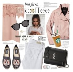 """""""Coffee"""" by electric-bird ❤ liked on Polyvore featuring Mackage, AG Adriano Goldschmied, Kenzo, Yves Saint Laurent, Too Faced Cosmetics, Thierry Lasry, electricbird and plus size clothing"""