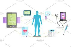 Mhealth Technologies System. Human Icons. $5.00