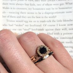 Black diamond ring with champagne diamond accents. All made by hand