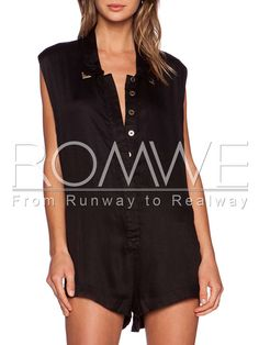 Black Sleeveless Lapel With Buttons Playsuit 14.99