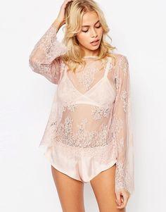 Bild 1 von ASOS – Delicate – Schlafanzug mit Tunika-Oberteil aus Eyelash-Spitze und French Knickers aus Satin