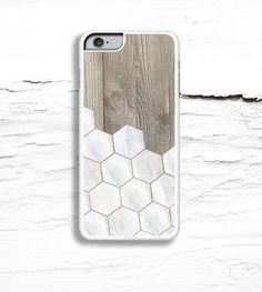 Marble Tile & Wood Grain iPhone Case