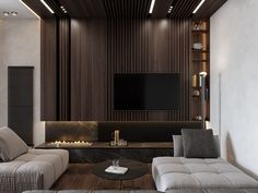 Get onboard with the wood slat wall trend with this luxurious home interior; featuring wood slat dividing walls, wall panel design and wood ceiling ideas.