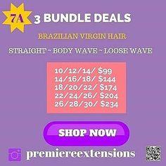 Bundles Starting @ $40 & $99 (3) Bundle Deals @premiereextensions http://ift.tt/1lWXqJG Discount CODE: --> TORIE  Happy Customer @mrs_toire  #hairplug #wesellhair #bundles #closures #frontals #beautyschool #cosmetology #cosmetologist #fashion #style #hairsale #greatqualityhair #virginhair #brazilianhair #brazilianhairsale #masterstylist #stylist #salon #hair #ilovehair