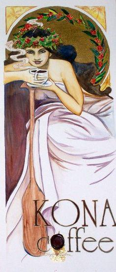 Hawaii Artist: Stephanie Bolton - Kona Coffee Posters