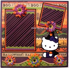 Hello Kitty Halloween Premade Scrapbook Page Hello Kitty Crafts, Hello Kitty Halloween, Baby Scrapbook, Scrapbook Paper Crafts, Scrapbook Pages, Cute Scrapbooks, Halloween Scrapbook, Hello Kitty Wallpaper, Card Sketches