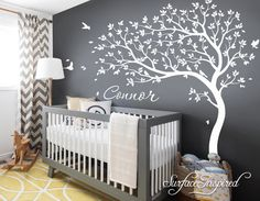 Tree Wall Decal Personalized Names Nursery Tree by SurfaceInspired Unisex Nursery Colors, Baby Nursery Decor, Baby Bedroom, Nursery Neutral, Nursery Room, Girl Nursery, Girl Room, Baby Baby Baby Oh, Baby Room Design